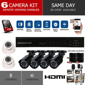 CCTV Security Camera System. Full 6 Camera Kit. 1TB HDMI 8CH DVR, Cables, 2 Dome Cams, 4 Bullet Cams