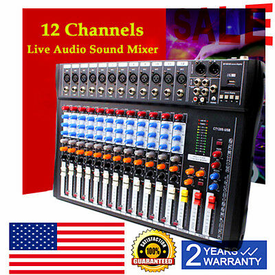 12 Channel Professional Live Studio Audio Mixer CT-120S USB Mixing Console BEST Channel Audio Mixing Console
