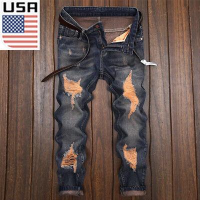 Men Fashion Designed Straight Slim Fit Biker Jeans Cool Skinny Denim Trousers Us