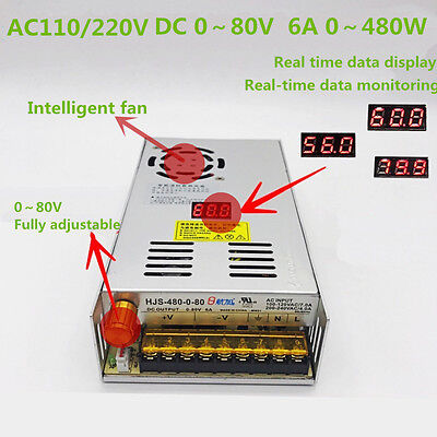 Led Dc Regulated 0-80v 6a Adjustable Switching Power Supply With Digital Display