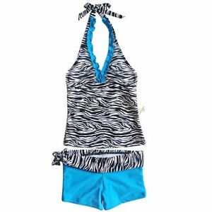 Zebra Girls Halter Tankini Swimsuit Bathing Suit Swimwear UPF 50+ SZ 8 10 12 14
