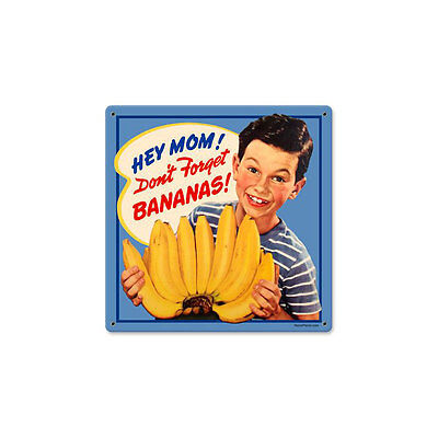 MOM & BANANAS Schild USA FOOD BAR DINER PUB Küche Kitchen sign Obst Boy retro V8