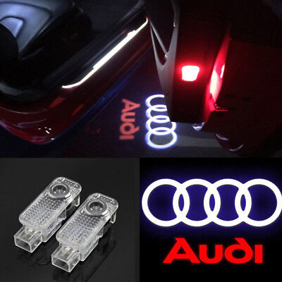 2x LED Courtesy Step Door Light Quattro Logo Projector For Audi A4 A6 A8 Q7 TT