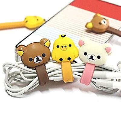 4pcs Cute Cartoon Earphone Headphone Cable Wire Cord Winder Organizer Clip Wrap