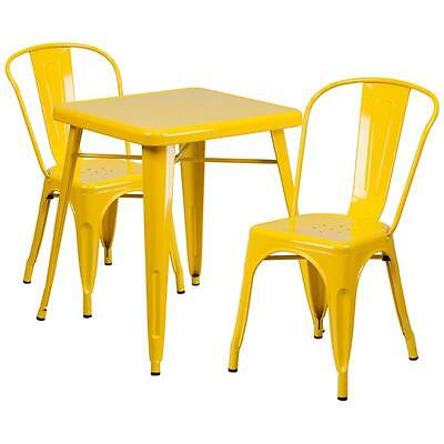 Yellow Metal Restaurant Table Set With 2 Stack Chairs
