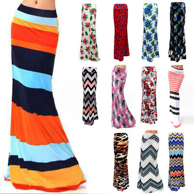 Womens Boho High Waist Bodycon Maxi Floral Wrap Dress Pencil Tube Full Skirt
