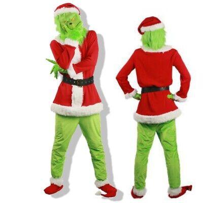 Santa Dress Costume (Christmas Santa Dress Outfit US Grinch Costume Halloween Cosplay Adult)