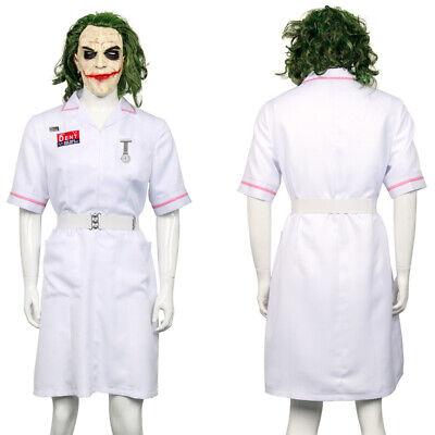 Batman Joker White Nurse Dress Uniform Outfit Cosplay Costume Halloween - Joker Halloween Costume Nurse