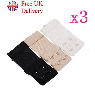 3 Colours Bra Extender, 2 Hooks, Ladies Bra Extension Strap Underwear Strapless