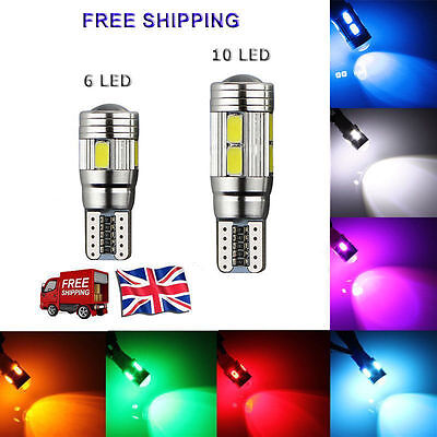 T10 501 W5W CAR SIDE LIGHT BULBS ERROR FREE CANBUS 6  10SMD LED XENON HID WHITE