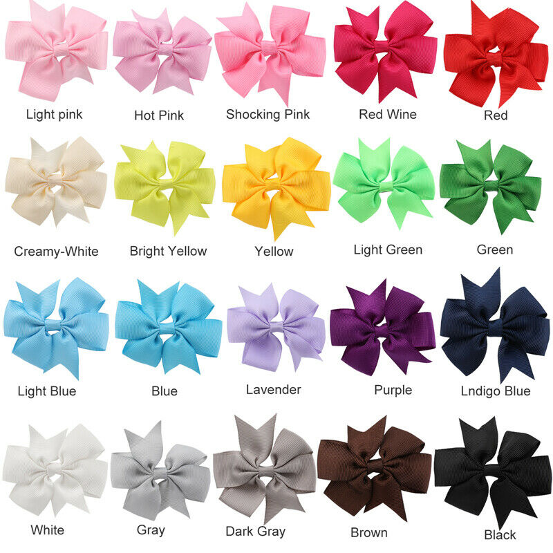 40Pcs 4inch Boutique Grosgrain Ribbon Baby Girls Hair Bows w/Clips for Toddlers
