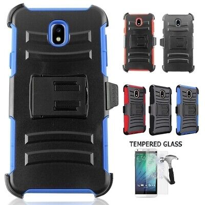 Samsung Galaxy J7 Crown Holster Case Cover and Swivel Belt Clip + Tempered Glass