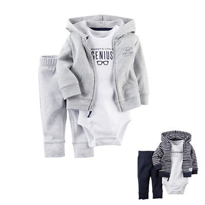 Carters 3pcs Set Baby Boys Girls Hooded Cardigan Romper Pants Outfits Clothes X