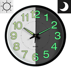 12 Wall Clock LED Energy Night Dark Luminous Glow Modern Quartz Bedroom Watch