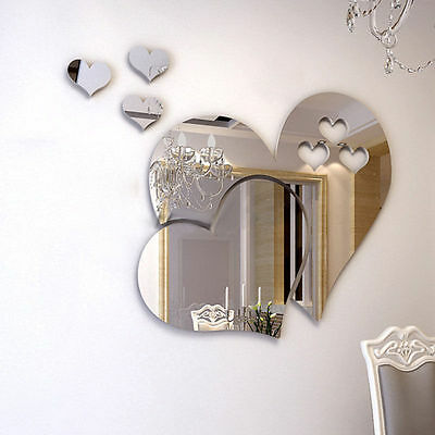 3D Mirror Love Heart Wall Sticker Decal Room Art Mural HOME Decor Removable GIFT