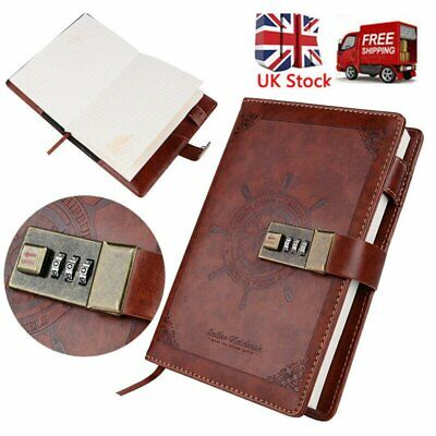1Pc Notebook With Lock Diary Retro Password Book Diary Journal Lockable New UK