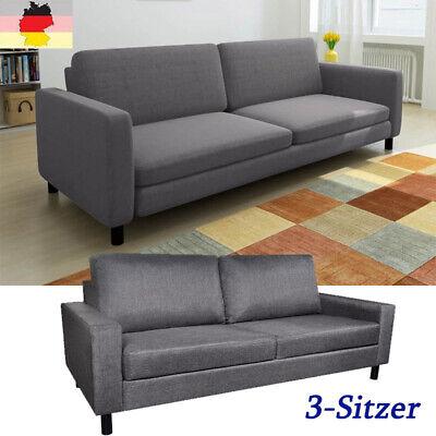 Sofa 3-Sitzer Loungesofa Polstersofa Sitzmöbel Couch Dunkelgrau Stoff