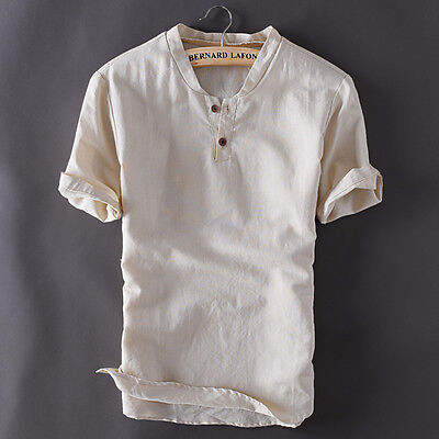 Men's Pullover Linen Short Sleeves Shirts Solid Cotton Shirts Asian Sizes TS150