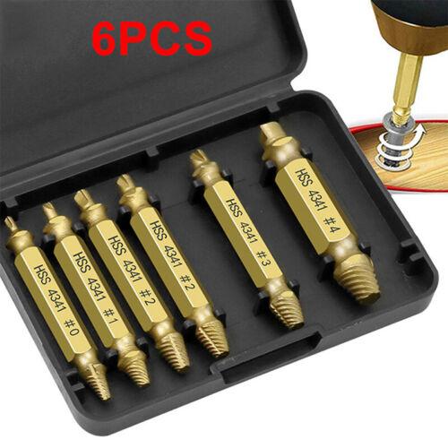 6pcs damaged screw extractor drill bit set