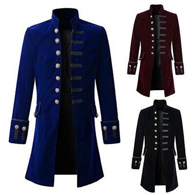 Herren Vintage Jacke Lange Steampunk Uniform Gothic Militär Parade Frack Mantel