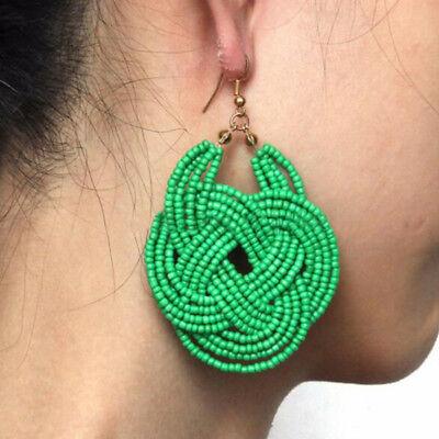 Women Handmade Knitting Resin Beaded Boho Earrings Fashion Jewelry Gifts ()