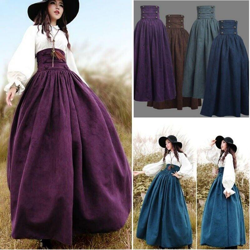Details about Women Retro High Waist Long Victorian Skirt Solid Steampunk  Dress Plus Size