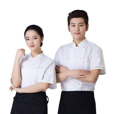 Chef Coat Unisex Cook Jacket Short Sleeve Uniform Restaurant Hall Workwear M-3xl