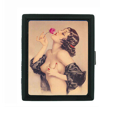 Metal Cigarette Case Holder Box Pin Up Girl Design-010 Rose Vintage](Vintage Cigarette Holder)