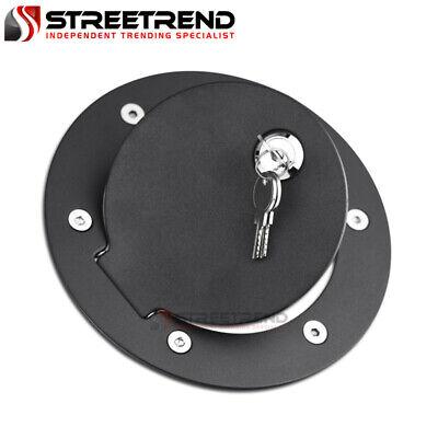 For 02-09 Dodge Ram 1500 2500 3500 Matte Blk Aluminum Fuel Gas Door Cover+Lock