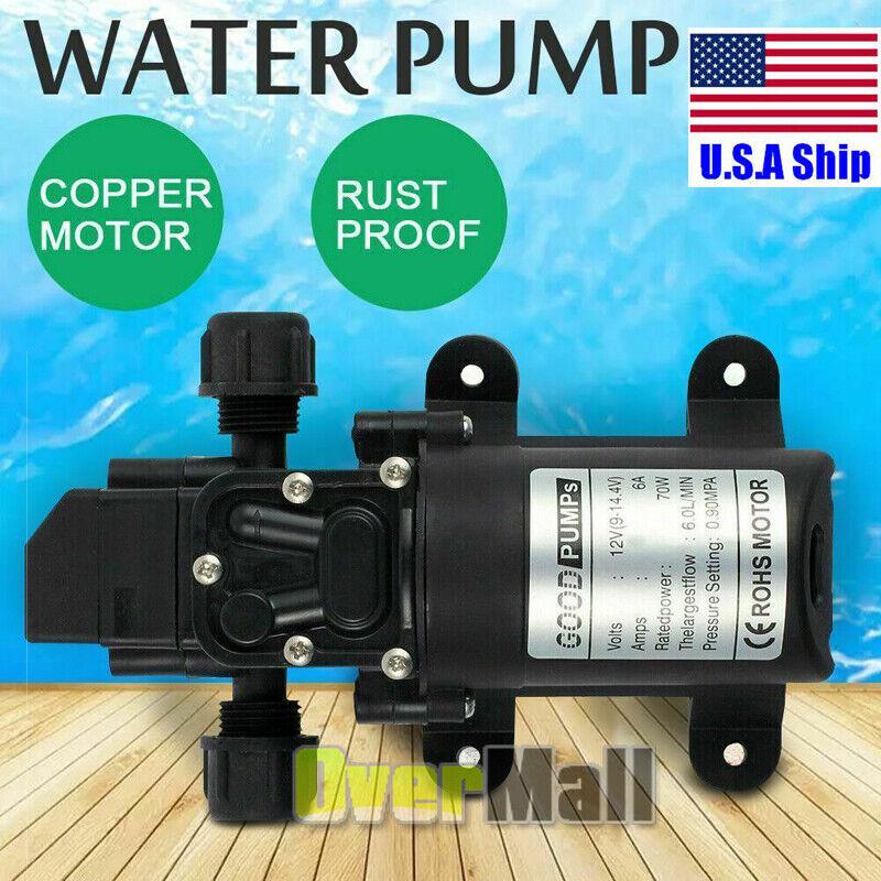 12V Water Pump 70W 130PSI Pressure 6L/Min Self-Priming Caravan Camping Farm Boat