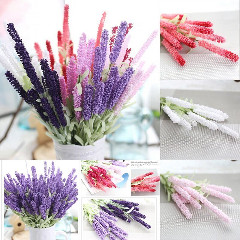 Home Decoration 12 Heads Lavender Bouquet Wedding Silk Flowers High Simulation J