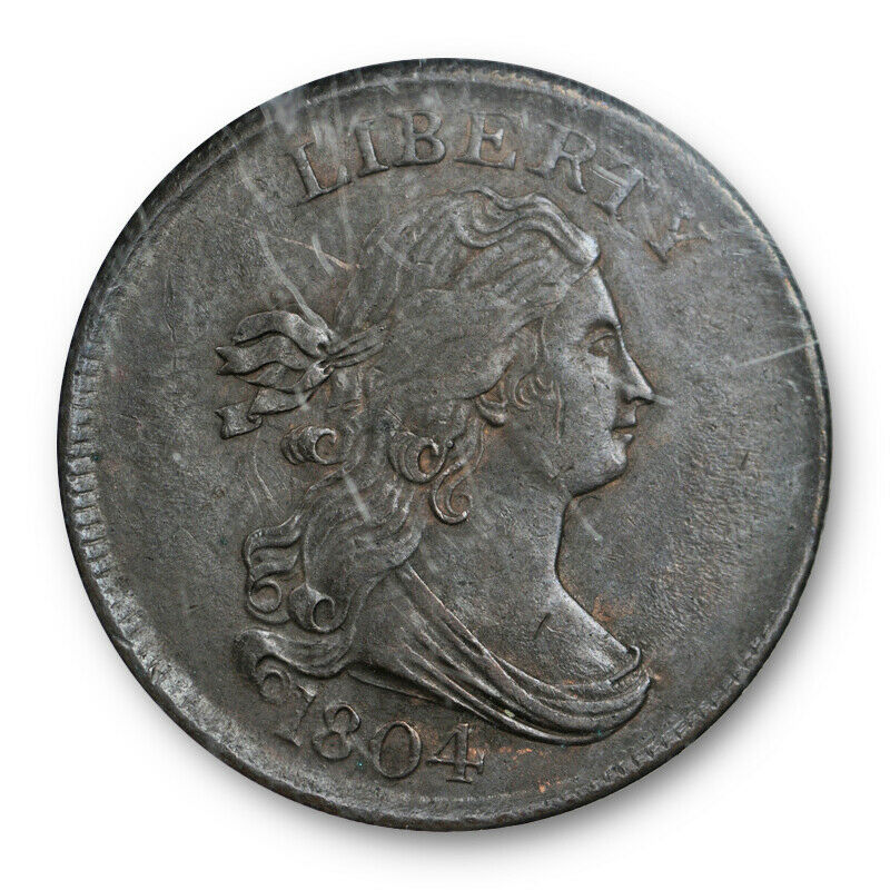 1804 Cross 4 No Stems Draped Bust Half Cent C-12 NGC AU 58 About Uncirculated