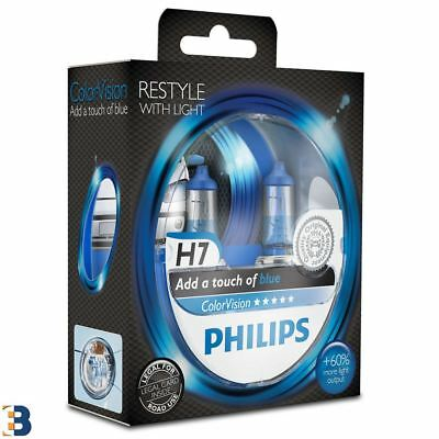 Philips H7 ColorVision Blue 12V 55W Scheinwerferlampe Blau 60% 12972CVPBS2 SET 7 Color Twin Pack