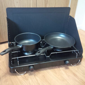 Camping cooking stove with pots/gas/lighter