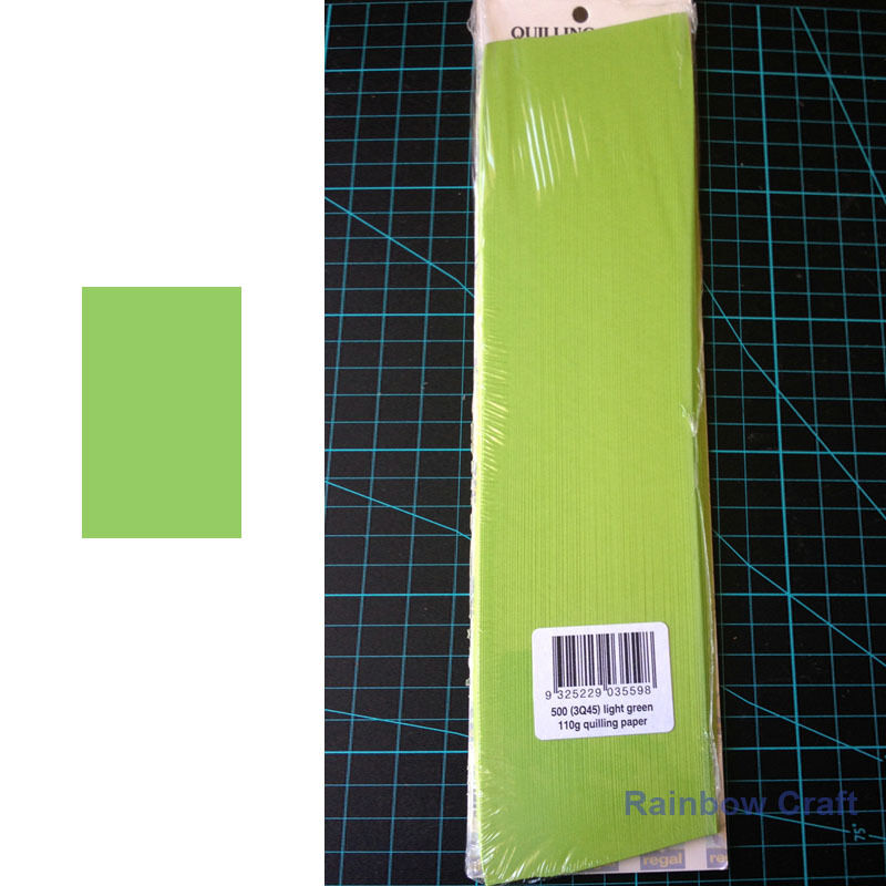 500 Strips 3mm Quilling Paper (110GSM) 8 multicolor & 27 single colors /U select - Light Green
