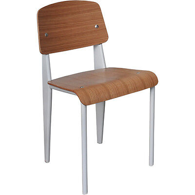 Steel and Wood Jean Prouve Standard Chair Dining Kitchen Restaurant White - NSW