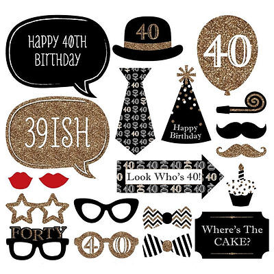 20pcs 40th Black Gold Birthday Party Photo Booth Props Favour Photography Fun