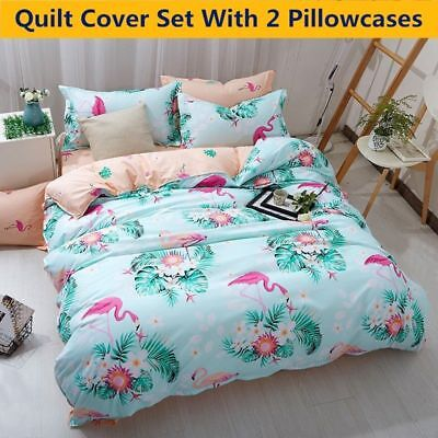 Flamingo Duvet Quilt Cover Set Ultra Soft Comforter Bedding Set Twin Queen Size