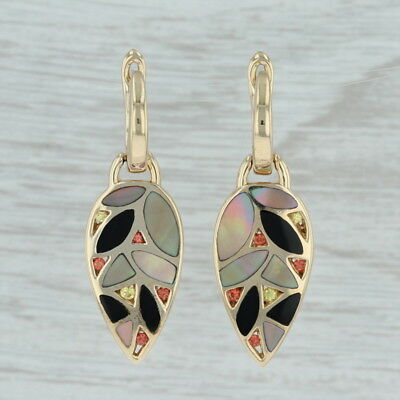 John Bagley Mosaic Leaf Dangle Earrings - 14k Yellow Gold Multi-Gemstone Pierced 14k Yellow Gold Mosaic