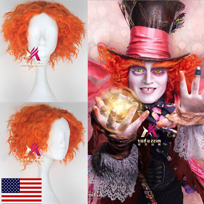US! Alice in Wonderland Mad Hatter Cosplay Orange Curly Wig Halloween Hair Prop - Alice In Wonderland Wig