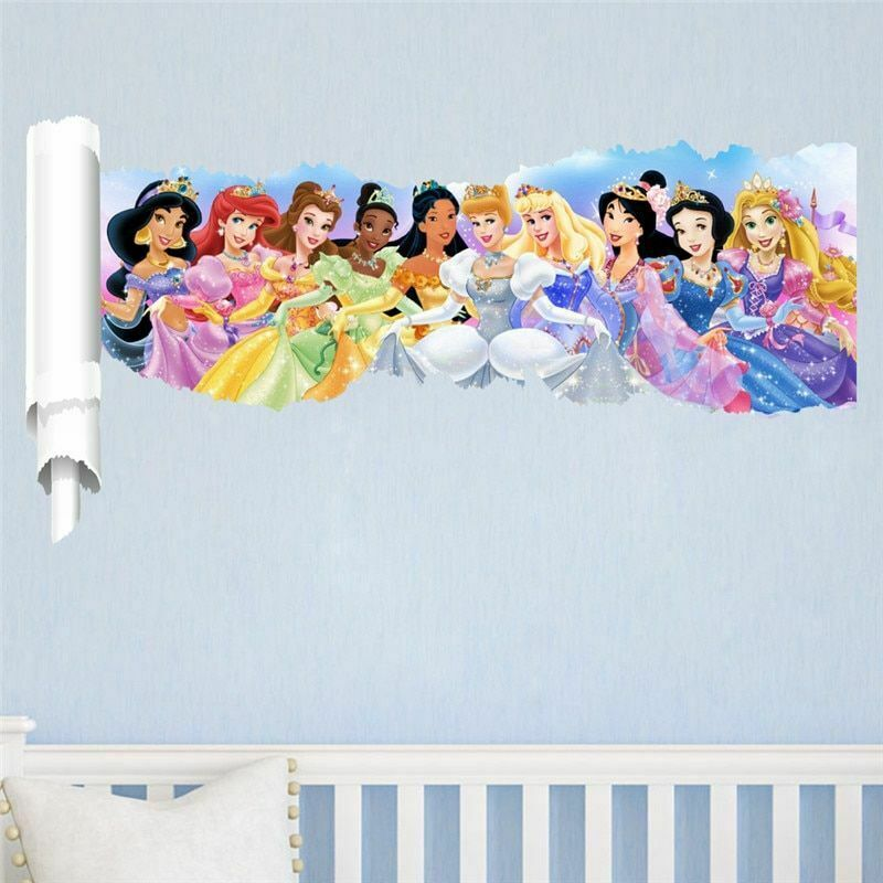 Cartoon Princess Girl Wall Stickers For Kids Rooms PVC Child