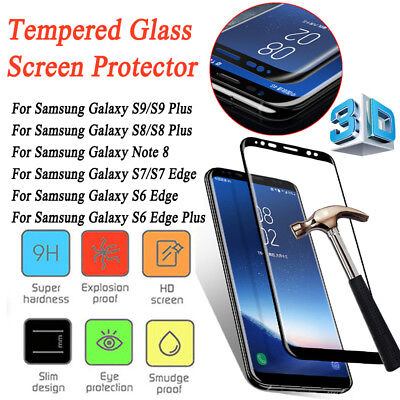 For Samsung Note9 S9 S8 Plus S7 S6 Edge Temper Glass Cover 3D Screen Protector