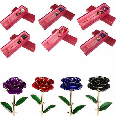 Genuine 24K Gold Dipped Trim Long Stem Rose Flower Glass Valentine Mother's - Valentine Rose