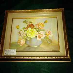 Vintage painting by E. Hogarth - flowers London Ontario image 2