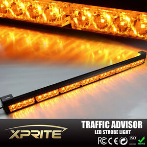 "30"" Amber 28 LED Emergency Warning Light Bar Traffic Adviser"