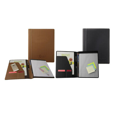 Premium Business Leather Padfolio Portfolio Folder Organizer Resume Black Tan