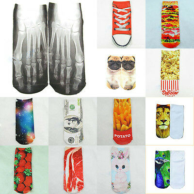 1 Paar Casual Women Fashion Low Cut Socken Baumwolle 3D Gedruckt Cartoon Mode ()