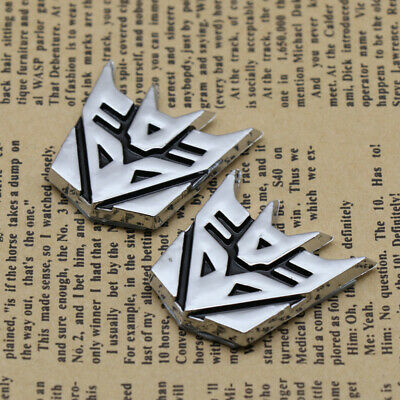 2x 3D Transformers Logo Emblem Badge of Decepticon Decal Cars Gas Door Stickers