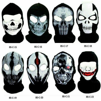 Scary Face Masks (Ghost Skull Balaclava Full Face Mask Cover Scary Horror Trooper Beanie Hood)