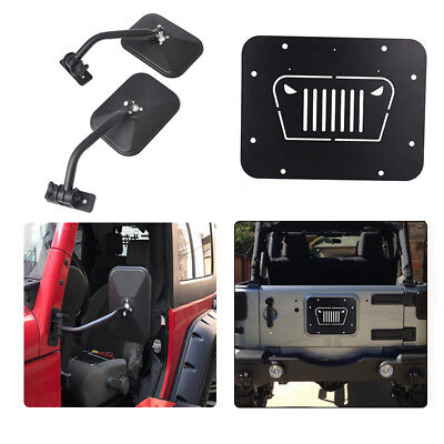 Door off Mirrors & Tailgate Spare Tire Delete Plate for 07-16 Jeep Wrangler JK